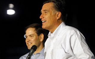 民意调查发现,选择参议员马可•卢比奥(Marco Rubio)做副总统给罗姆尼增加了两个百分点,佛罗里达州的选票升至49%对奥巴马 - 拜登的41%。(Jessica Kourkounis/Getty Images)