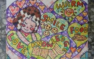 基隆市一○ㄧ年母亲节创意海报设计比赛二信高中国中部吕宛諠勇夺第一。(二信中学提供)