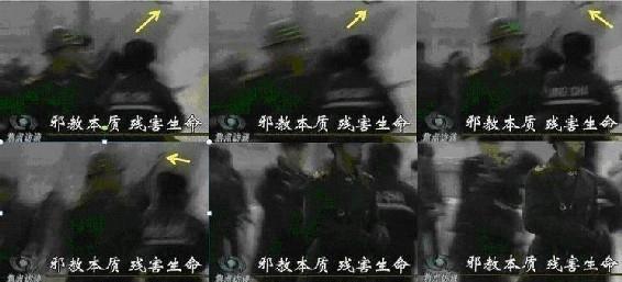 图6 第二个武警出来维护杀人现场,杀人凶器的手柄还在空中飞动。