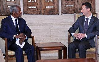 联合国及阿拉伯联盟特使安南(左),在叙利亚发生屠杀数十名儿童的惨案后前往叙利亚与总统阿萨德(右)会晤,但大马士革当局并没有对实施和平计划做出任何具体承诺。(AFP/HO/SANA)