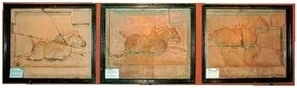 圖:昭陵北麓祭壇東側的三匹駿馬。(維基百科公共領域)