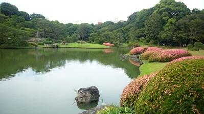 """日本东京有名的和歌庭园""""六义园""""水池中的一块酷似猪头的石头。(摄影:容乃加/大纪元)"""