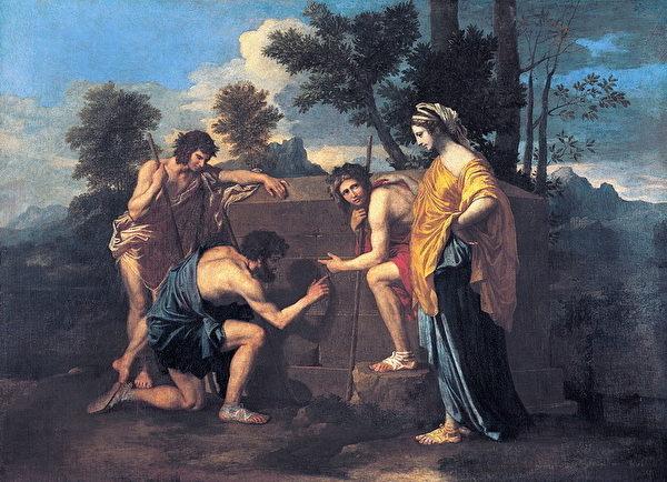 普桑作品《阿卡迪亚的牧人》。