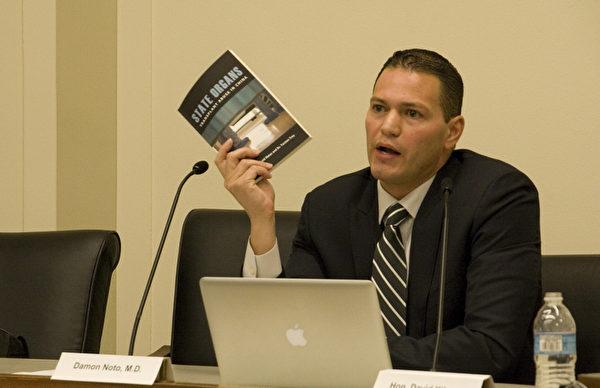 医生反对强摘器官组织(DAFOH) 发言人达蒙‧诺托(Damon Noto,MD)医师。(摄影﹕李莎/大纪元)