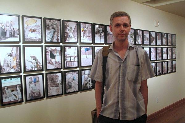 来自冰岛的艺术家Heimir Bjorgulfsson以独特的北欧视角呈现洛杉矶中国城。(摄影:刘菲/大纪元)