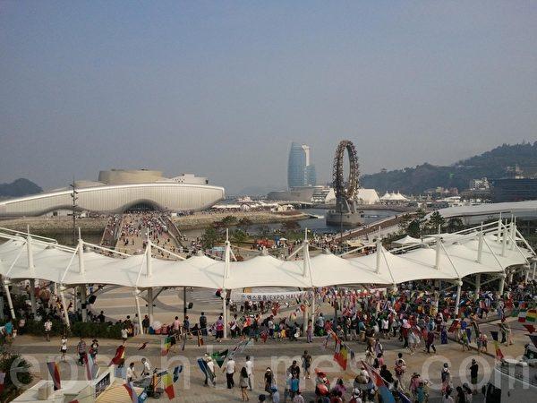 世博會中心遠眺(圖片來源:作者提供)