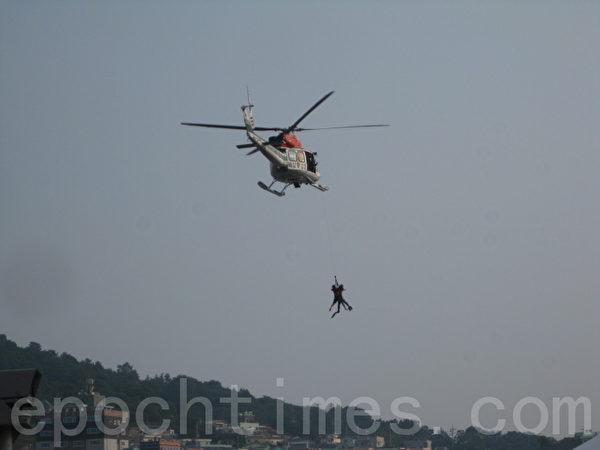 直升機救人演習(圖片來源:作者提供)
