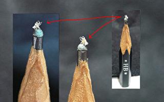 大象站铅笔尖  陈逢显微雕细腻