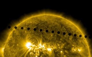 澳洲墨爾本大學(UM)和墨爾本皇家理工大學(RMIT)研究者們最近在美國物理學雜誌上發表了他們的最新宇宙形成理論,可能將完全顛覆宇宙大爆炸學說。圖為美國航空航天局的金星凌日的太陽複合圖像。(SDO/NASA via Getty Images)