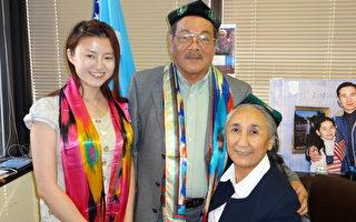图:台湾民政府议员蔡登文(中)和中国民主党代表叶楠(左)9月12日在华府探望了流亡美国的维吾尔族异议领袖热比娅。(叶楠提供)