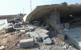 龙环公司的养殖房、配电房、总闸门及水泵都被破坏。(图片由知情者提供)