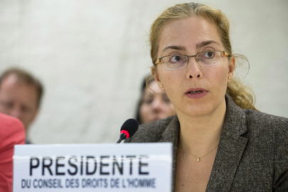 联合国人权理事会主席拉瑟瑞(Laura Dupuy Lasserre )女士主持9月18日上午的讨论,当日二家国际人权机构提出法轮功学员器官被活摘指控并要求联合国作为紧急议案调查。(联合国图片)