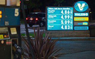 圖:南灣桑尼維爾的一家加油站,普通汽油每加侖已經高達4.87元。(攝影:李歐/大紀元)