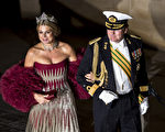 Dutch Prince Willem-Alexander and Princess Maxima arrive for a gala dinner at the Grand-Ducal palace, after the civil wedding of Crown Prince Guillaume of Luxembourg and Belgian Countess Stephanie de Lannoy, on October 19, 2012, in Luxembourg. The 28-year-old bride, who will acquire Luxembourg citizenship through marriage, and the 30-year-old groom tied the knot at city hall in what was a departure from tradition, as previous royal ceremonies were held at the Grand-Ducal palace. AFP PHOTO /BELGA /NICOLAS LAMBERT -BELGIUM OUT-
