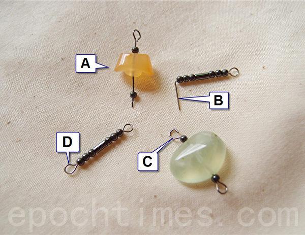 1.依照顺序:A.先用9字针穿过所需制作的裸石。B.再用平口钳将针折成90度。C.使用圆头尖嘴钳夹住针的顶端并折成一圆头。D.完成后用平口钳将圈头拉紧。(摄影:妙妙屋 / 大纪元)