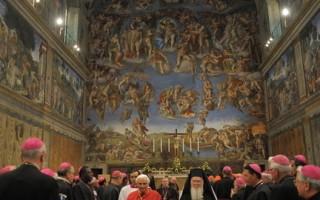 米开朗基罗在500年前完成的西斯汀教堂(Sistine Chapel)的天花板壁画《创世纪》。(AFP)