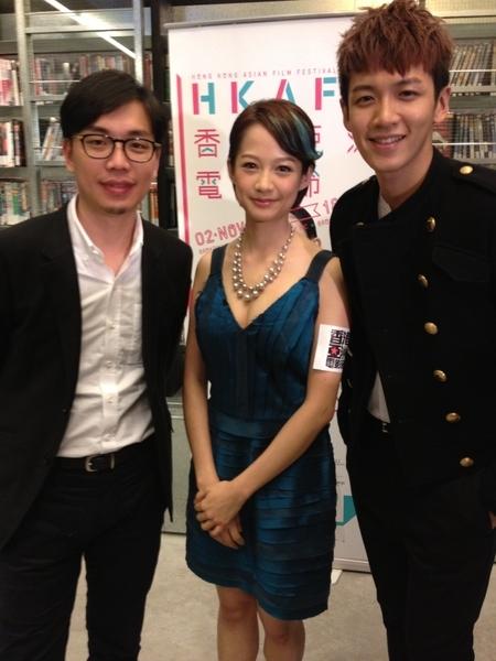 《南方小羊牧場》侯季然、柯震東與簡嫚書三人出席香港亞洲電影節開幕。(圖/原子映象提供)