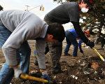 2012 年 11 月 10 日,纽约民众化身志工,协助超级风暴桑迪(Sandy)灾区重建及清理灾区。图为皇后区罗卡韦附近志工。(Spencer Platt/Getty Images)