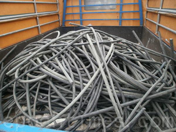 TPC台灣電力公司之低階電纜線共計250公斤被竊(攝影:徐乃義/大紀元)