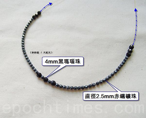 1.如图所示,将钢绳穿入黑玛瑙珠与赤铁矿圆珠。(摄影:妙妙屋 / 大纪元)