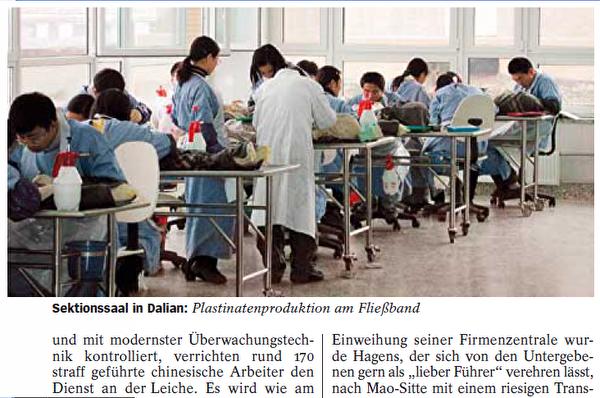 哈根斯的大连塑化工厂的170多个中国工人在生产流水线上忙着加工尸体