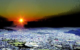 太阳升起时的庆州原野:2000多年前开创的古代王国新罗,从那时到今天庆州这座城市经历了无数的变化,但是新罗的遗产与庆州却是合二为一的。市区各处突起的山丘是新罗王室的坟墓。从天马塚出土的金冠可以得知新罗时代的炼金技术十分出色。以天马塚为首的30多个古坟形成了一个大陵苑。古坟堆们与混凝土建筑相间形成绿色的公园,现在成了市民散步的场所。越过太阳升起的山头就是大海。那儿也是庆州。庆州的面积是首尔面积的2倍多,拥有无数的遗产。(照片:庆州市厅提供)