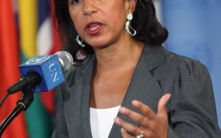 美國總統奧巴馬週四(13日)表示,他接受美國駐聯合國大使萊斯(Susan Rice)退出國務卿候選人身分。圖為5月30日,聯合國安理會在紐約總部對敘利亞問題進行磋商,萊斯在會後發表談話。(Mario Tama/Getty Images)