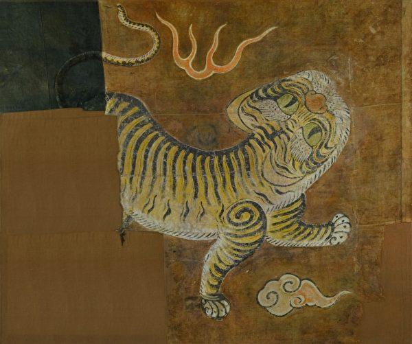 黄虎旗重见天日的背面老虎。(台湾博物馆提供)