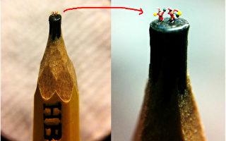 台湾毫芒雕刻家陈逢显挑战雕刻极限。在他巧手下,0.2公 分宽的铅笔芯上,站立2名身穿红衣红帽,蓄着白胡子 的耶诞老人。平均每位老公公尺寸只有0.06公分。 (陈逢显提供/中央社)