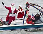 組圖:華府「聖誕老人」滑水表演慶聖誕