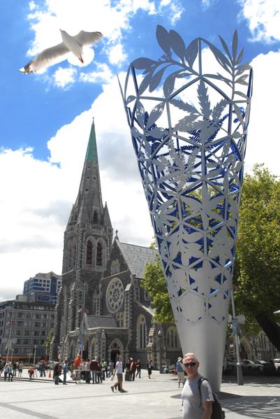 新西兰基督城大地震中毁坏的大教堂(摄影:戴兵/大纪元)