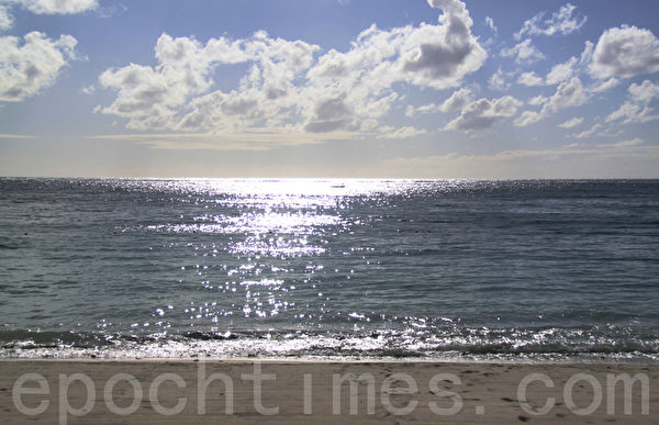 清晨微凉的海风, 在一抹金黄晨光的渲染下,心也随之清甜起来。(摄影:戴德蔓/大纪元)