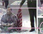 """央视""""自焚""""录像中,被大火烧过的王进东,面部严重烧坏,腿上的棉衣烧烂,但他两腿间盛汽油的塑料雪碧瓶却翠绿如新,最易着火的头发也还完整。(明慧网图片)"""