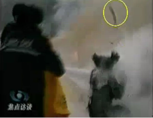 """CCTV""""自焚""""节目慢动作分析-2:重物猛击刘春玲的头部后被弹起。(明慧网图片)"""