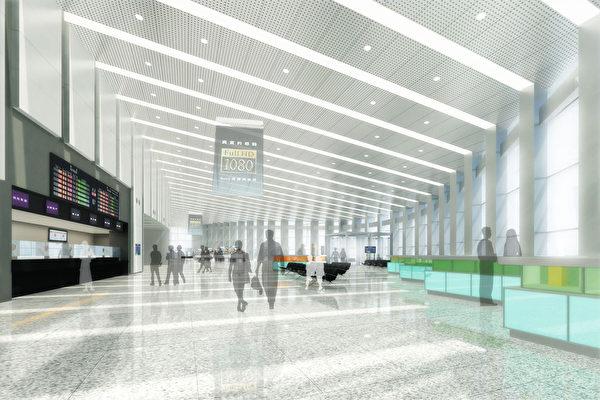 台灣高速鐵路公司12日表示,高鐵雲林站15日舉辦動工 典禮,經費新台幣15億餘元,預定2015年完工啟用。圖 為站內大廳示意圖。 (台灣高鐵提供)
