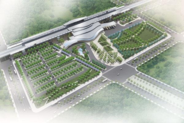 台灣高速鐵路公司12日表示,高鐵雲林站15日舉辦動工 典禮,經費新台幣15億餘元,預定2015年完工啟用。圖 為車站鳥瞰示意圖。 (台灣高鐵提供)