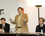 """华埠街坊会主席李兆祥(中)表示将对""""禁鱼翅法案""""临时禁制令的判决提出上诉。(摄影:周凤临/大纪元)"""