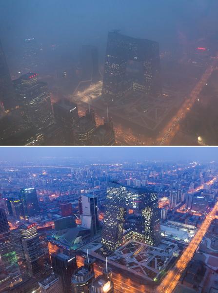 中国首都北京1月13日发出该市历史上首个大气污染次最高级预警—橙色警报,引起国际媒体关注。上图为2013年1月14日密集烟雾笼罩城市的照片,下图为2012年2月4日,在晴朗天气时的照片。(Ed Jones/AFP/Getty Images)