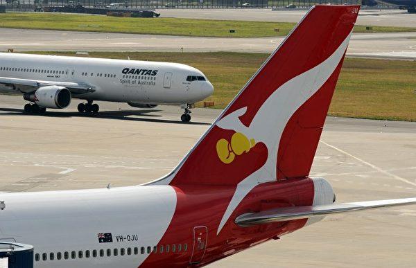 以袋鼠为标志的澳洲航空公司。(Photo by GREG WOOD / AFP)