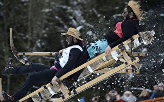 德国巴伐利亚村庄,2013年1月27日当地居民举行传统的Schnablerrennen的雪橇比赛,共有超过70支代表队参加。(CHRISTOF STACHE/AFP)