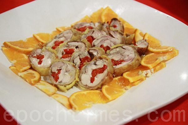 美味健康年菜-花开富贵鸡卷。(摄影:许享富 /大纪元)