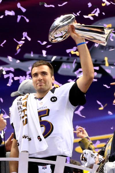 烏鴉四分衛喬-弗拉科(Joe Flacco)是烏鴉奪冠最大功臣,賽後被評為MVP。(Jamie Squire/Getty Images)
