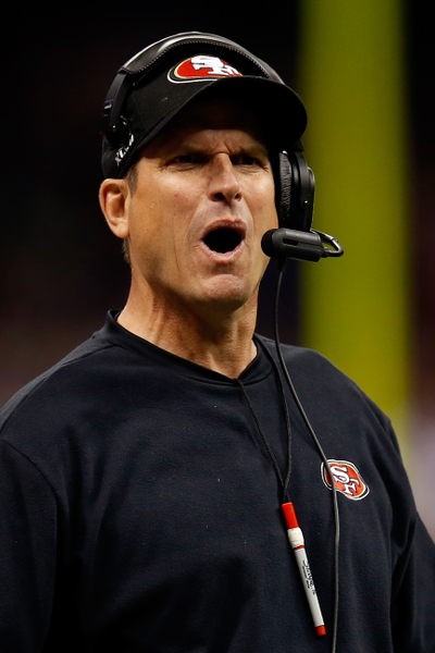 舊金山49人隊的總教練吉姆.哈勃(Jim Harbaugh)。(Chris Graythen/Getty Images)