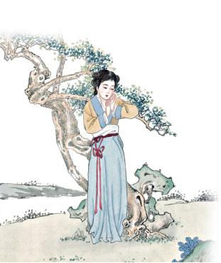 高老夫人在途中感念绿云的孤苦无助,收留她为贴身丫鬟。(大纪元资料图片)