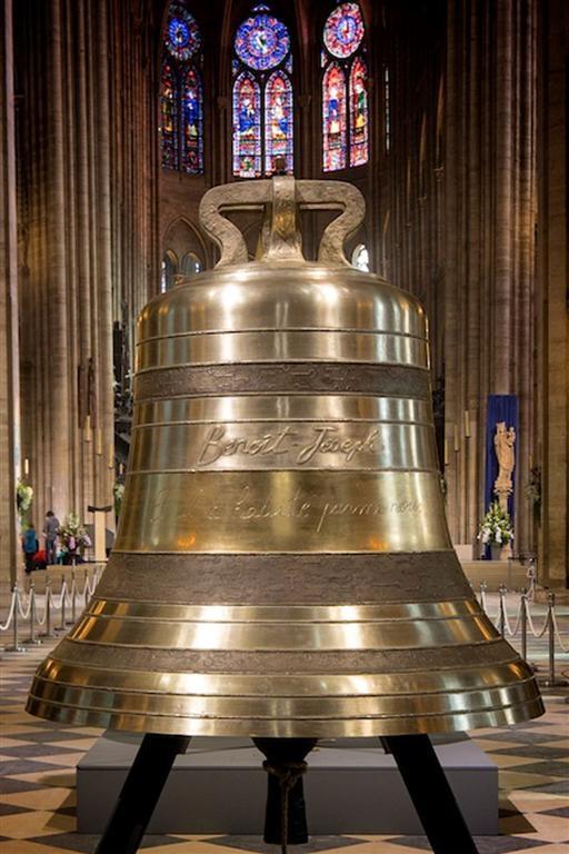 新钟之一:Benoît-Joseph,重1309 kg,直径120.7 cm。(notredamedeparis.fr提供)