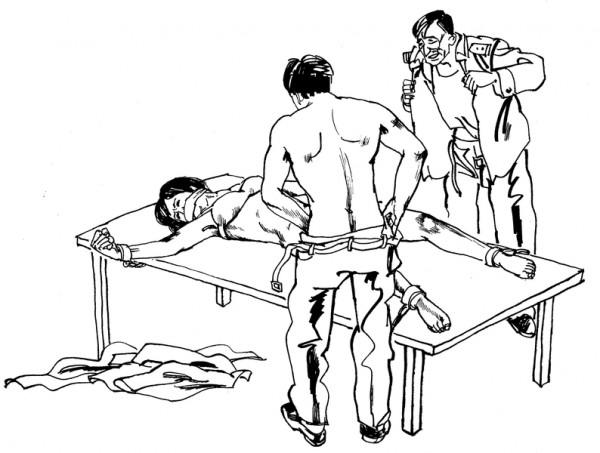 中共酷刑示意图:强奸、轮奸,恶警强奸、轮奸及纵容男犯或社会上的流氓强奸、轮奸法轮功女学员。(图片来源:明慧网)