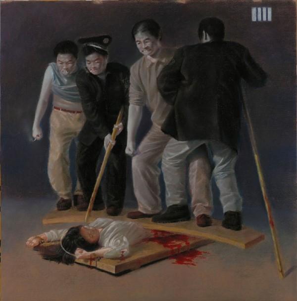 酷刑演示图:多人狠踩女性下身。(图片来源:明慧网)