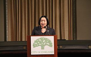 2月27日晚發表市情咨文的奧克蘭市長關麗珍。(攝影:丘石/大紀元)