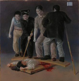 酷刑演示图:多人狠踩女性下身。(网络图片)