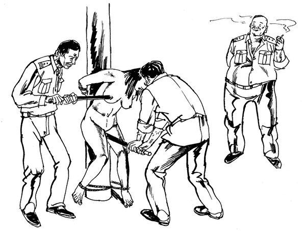 中共酷刑示意图:性虐待, 恶警用电棍电击法轮功女学员的乳房、阴部,把电棍插入妇女阴道内电击,连未婚的姑娘也不放过。(图片来源:明慧网)